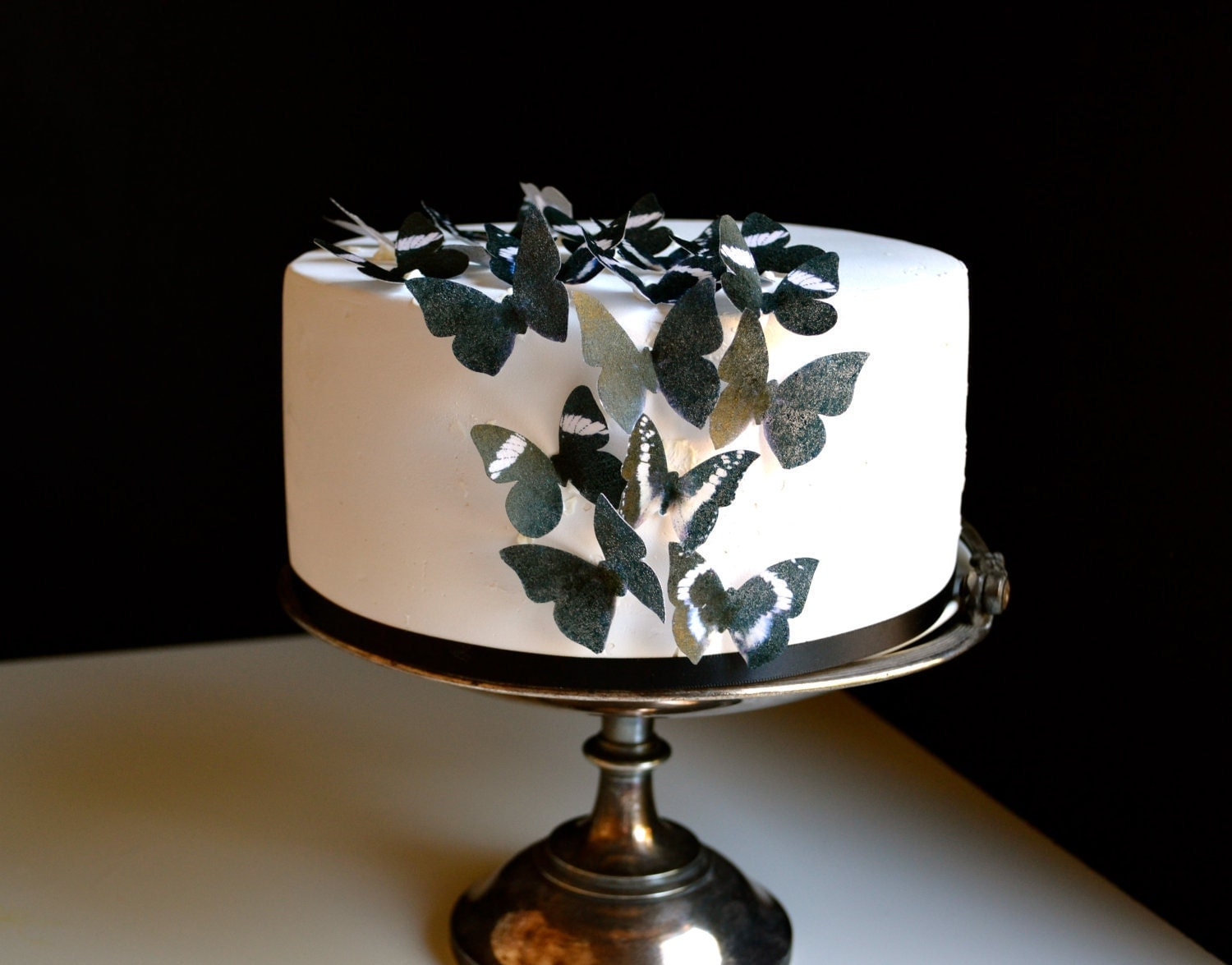 Wedding Cake Topper Small Black Edible Butterflies Edible