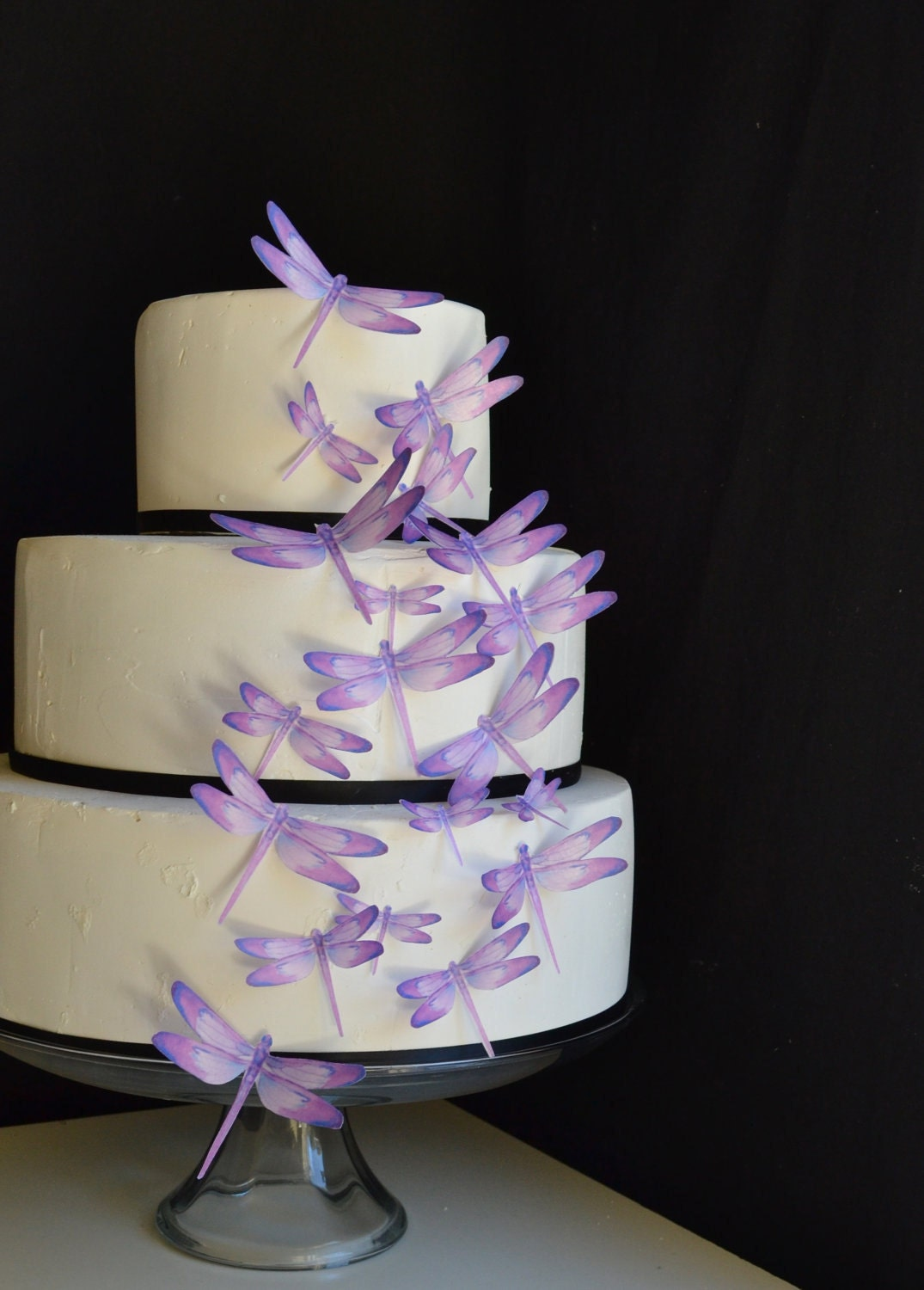Wedding Cake Topper Edible Dragonflies Assorted Purple Cake