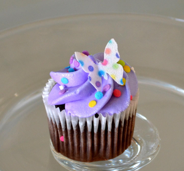 Vintage Rainbow Cake Decoration Edible : Edible Mini Butterflies Rainbow Polka Dots 2 dozen Cake