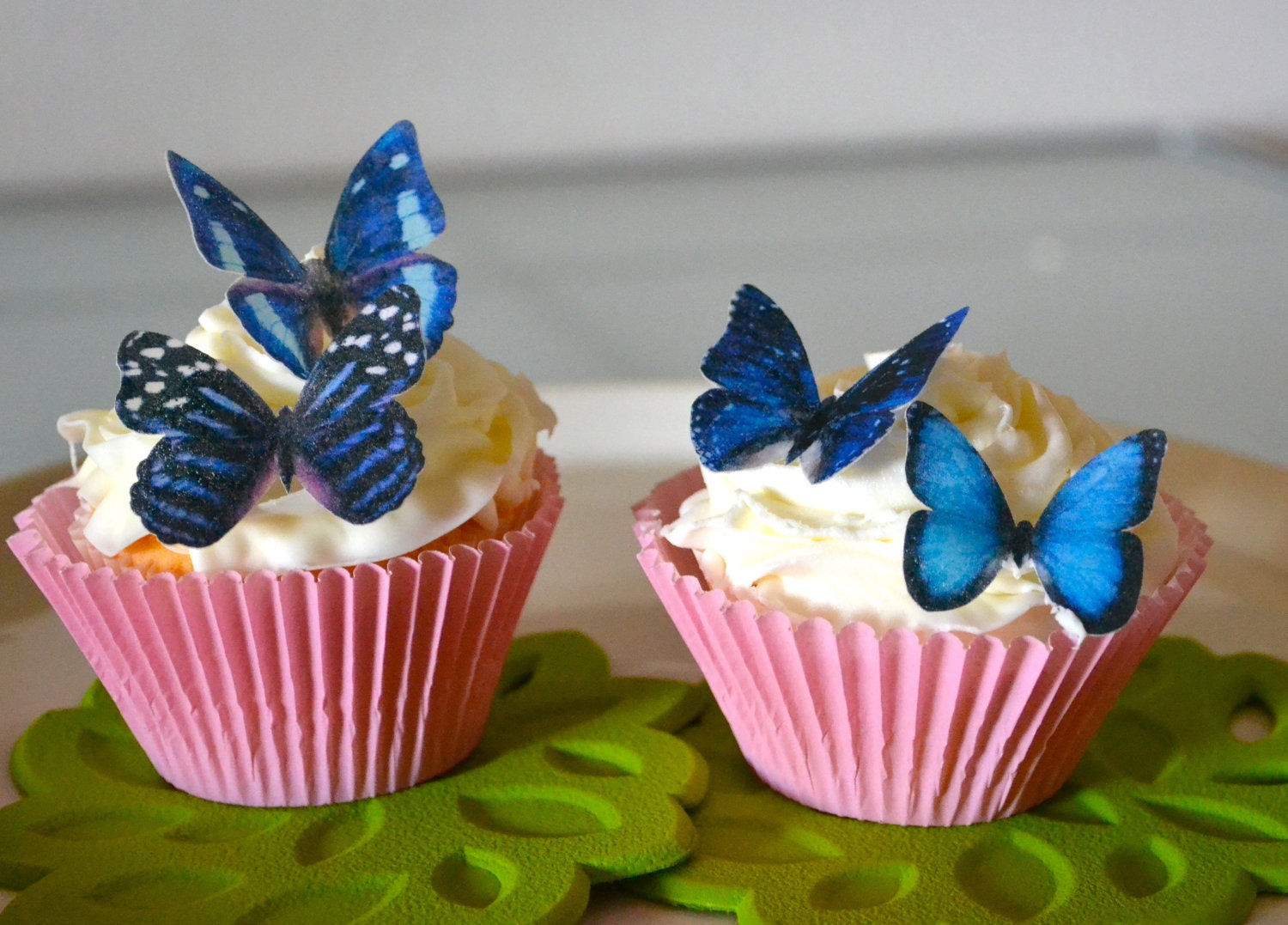Butterfly Edible Cake Images : Wedding Cake Topper 12 Blue Edible Butterflies Edible