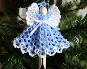 Blue Crocheted Clothespin Angel 1