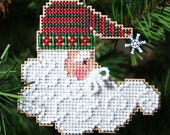 Twinkle Claus Cross Stitched and Beaded Christmas Ornament - Free Shipping