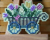 Garden Cart Beaded Cross Stitch Ornament, Pin, or Magnet - Free Shipping
