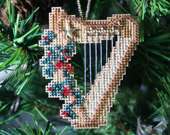 Harp Ornament - Cross Stitched and Beaded Christmas Ornament - Free U.S. Shipping