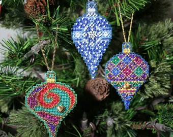 Teardrop Christmas Jewels Cross Stitched and Beaded Holiday Christmas Tree Ornaments - Set of Three - Free U.S. Shipping