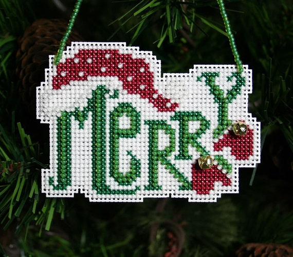 Merry Cross Stitched and Beaded Christmas Ornament - Free Shipping