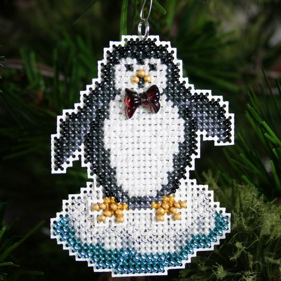 Penguin Christmas Tree: Penguin Christmas Tree Ornament Cross Stitched And Beaded