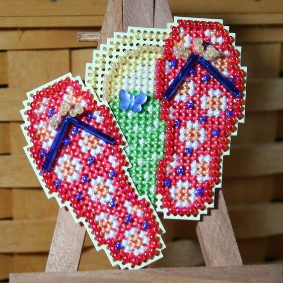 Flip Flops Beaded Cross Stitch Ornament, Pin, or Magnet - Free Shipping