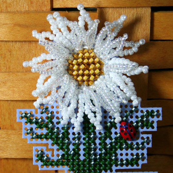 White Daisy Beaded Cross Stitch Ornament, Pin, or Magnet - Free Shipping