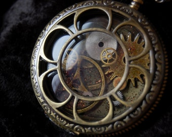 Steampunk Clockwork Pocket Watch Necklace