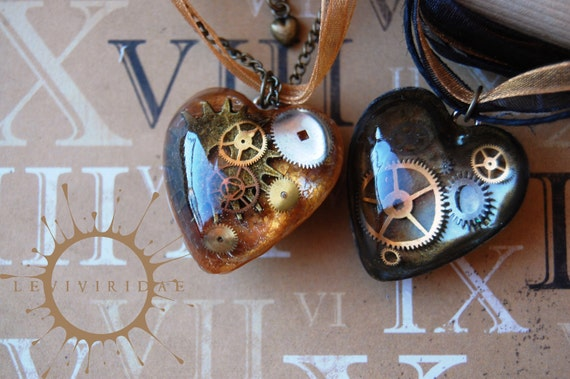Steam Punk Clockwork Super Heart Necklace with Ribbon