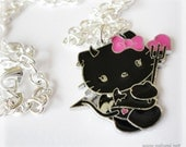 Devil Kitty Pendant, Silver Plated Chain - Friendship Necklace