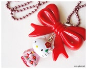 Hello Kitty Sakura Geisha Oversized Red Bow Pendant