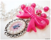 Kawaii White Rabbit Cameo Pendant on Fuschia and White Beaded Pearl Necklace in Silver - Alice in Wonderland, Decora