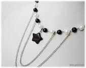 Black Star Necklace, Tiered Pearl Necklace, Silver Chain Layers - Punk Lolita