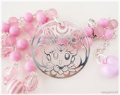 Chibiusa beaded pastel pink stripe necklace in silver