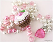 Kawaii Pink Cupcake Necklace, Polymer Clay Pendant on Long Beaded Pearl Rosary Chain- Sweet Lolita, Decora