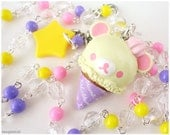 Kawaii Korilakkuma Necklace, Long Beaded Pink Yellow and Lavender Rosary Chain in Silver with Character Pendant in Silver
