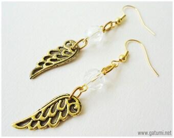 Gold Angel Wing Earrings, Beaded, Long - Fantasy Jewelry