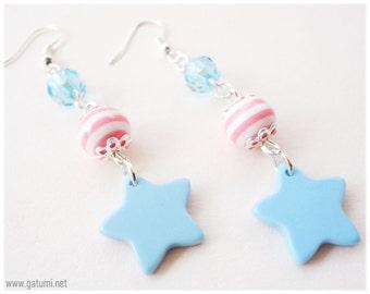 Pastel Pink Stripes and Blue Stars beaded long fairy kei earrings