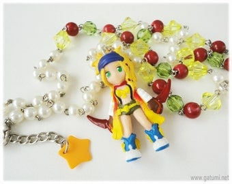 Final Fantasy X-2, Jewelry Set, Rikku Figure, Necklace and Earrings, Gamer Girl, Kawaii Jewelry