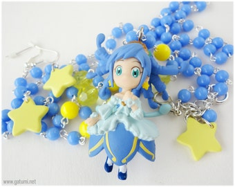 Futago Hime Princess Rein Long Baby Blue Anime Necklace and Star Earrings Jewelry Set