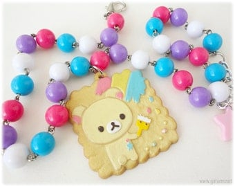 Chunky Korilakkuma Necklace, Colorful Beaded Chain, Biscuit Pendant, Silver Plated - Rilakkuma, Oshare Kei