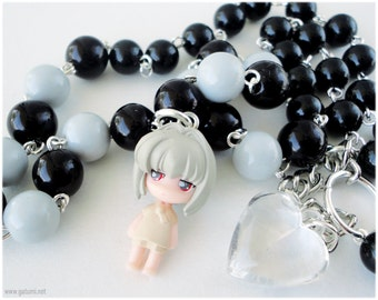 Sarara Bottle Fairy Necklace, Beaded Black and Grey Chain with Kawaii Anime Character Pendant in Silver