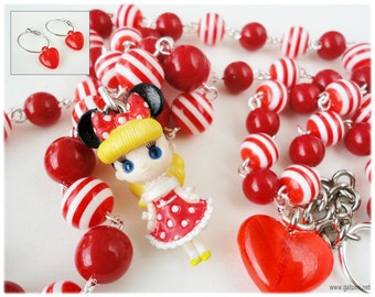 Kawaii Dollcena Necklace with Silver Heart Hoop Earrings, Red and White Stripe Beaded Chain with Doll Pendant