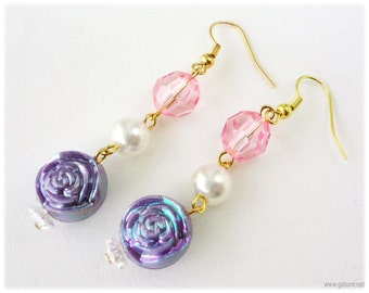 Long Beaded Lavender Rose Earrings with Cream Pearl and Pink Faceted Accents in Gold - Sweet Lolita, Fairy Kei