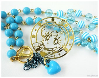 Sailor Mercury Necklace in Gold, Beaded Baby Blue Chain with Striped Accents - Sailor Moon, Anime