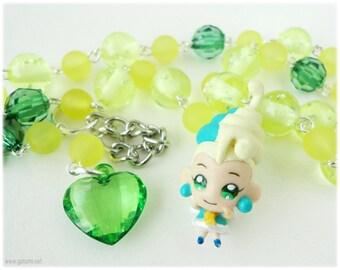 Fushigi Boshi no Futagohime Kyukyu beaded anime necklace, Lime Green and Yellow Rosary Style Chain with Character Pendant