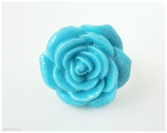 Sparkly Teal Rose Ring, Silver Plated, Adjustable - Sweet Lolita, Kawaii