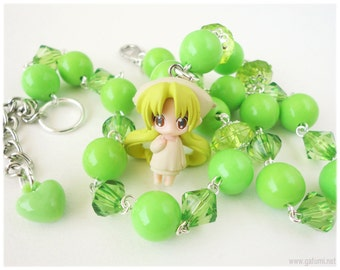 Bottle Fairy Necklace, Chiriri Figure Pendant on Lime Green Beaded Chain in Silver - Anime
