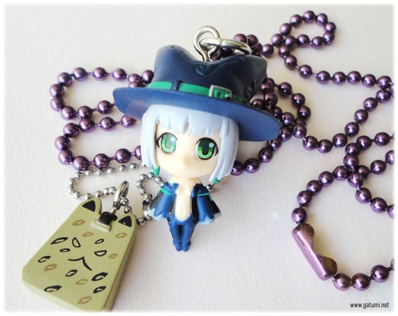 Pangya Brie Purple Ball Chain Necklace and Papel Bag Zip Charm