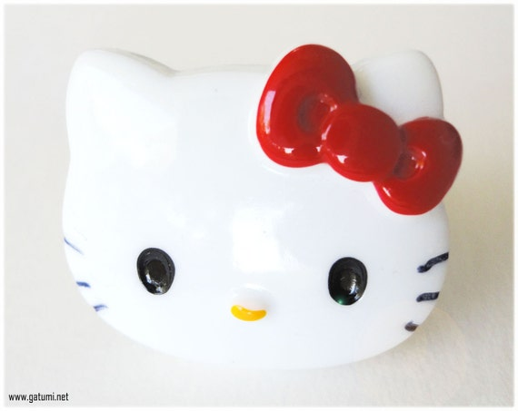 Red Hello Kitty Face Ring, Adjustable, Silver Plated