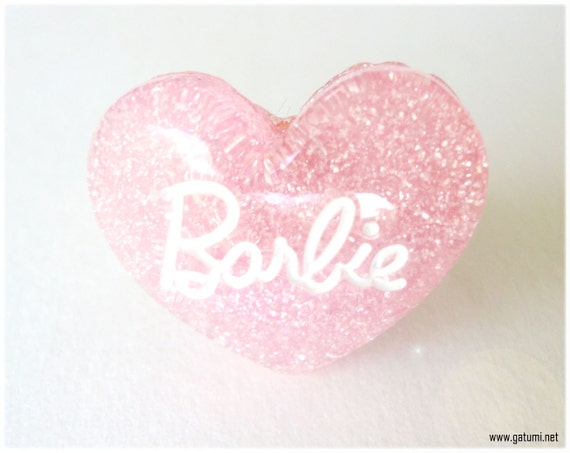 Pink Glitter Barbie Heart Ring in Silver, Adjustable - Sweet Lolita, Fairy Kei