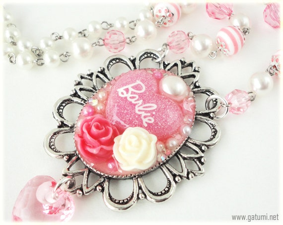Ornate Barbie Cameo on Beaded Pink and White Pearl Chain in Silver - Hime Gyaru, Decoden