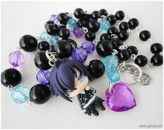 Hakuouki Saito Beaded Anime Character Necklace with Black Purple and Blue Beading in Silver