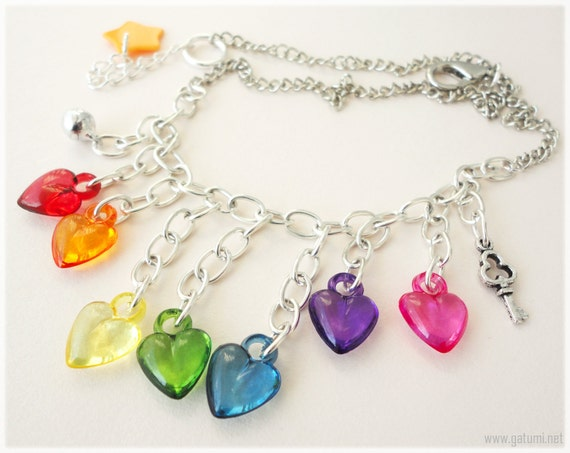 Rainbow Hearts Fringe Necklace, Silver Chain with Key Charm and Bell