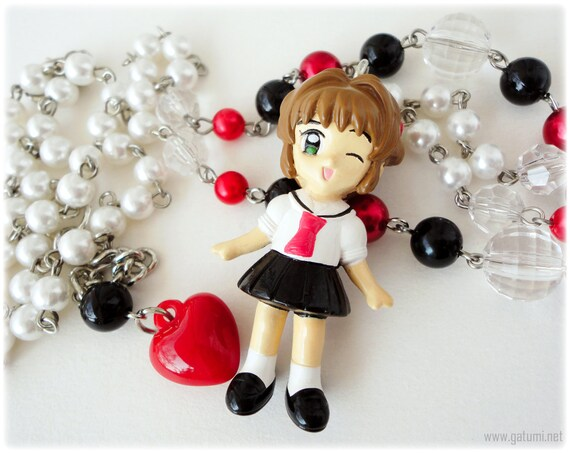 Cardcaptor Sakura OOAK School Uniform Very Long Black White and Red Beaded Anime Necklace