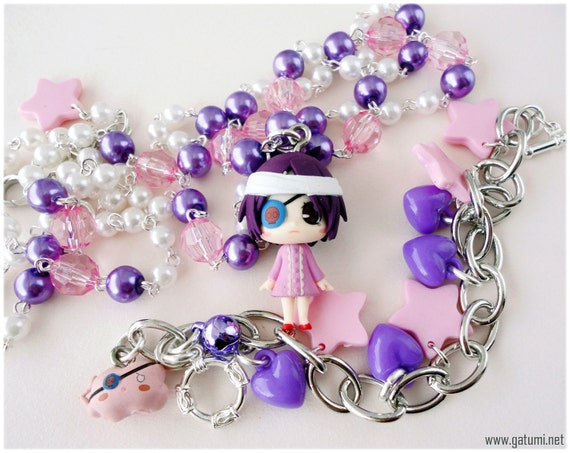 Chrome Dokuro Beaded Purple and Pink Anime Necklace and Charm Bracelet in Silver - KHR