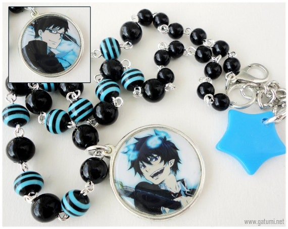 Ao no Exorcist Necklace, Silver Reversible Rin and Yukio Pendant on Beaded Black and Blue Chain - Anime