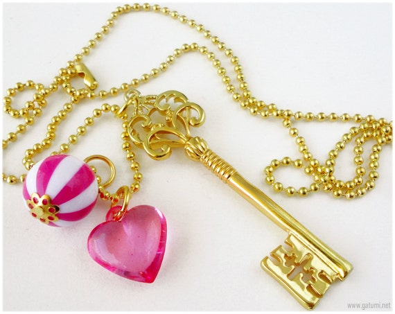 Ornate Gold Key Pendant with Fuschia Heart and Candy Charm - Sweet Lolita, Gyaru