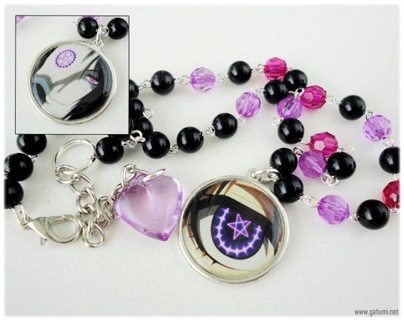 Ciel and Sebastian Reversible Beaded Black Purple and Magenta Kuroshitsuji Necklace in Silver