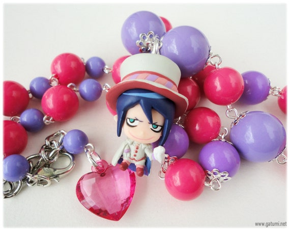 Mephisto Pheles Necklace, Beaded Fuschia and Purple Chain with Character Pendant in Silver - Ao No Exorcist, Anime
