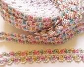 2 yards - Multi Color elastic lace Trim - size 13 mm