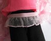 2 yards -  Pink organza ruffle elastic trim - size 18 mm