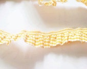 2 yards - 1 side trim - ORANGE Gingham Cotton elastic trim - size 20 mm