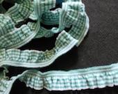 2 yards - 1 side trim - DARK GREEN Gingham Cotton Elastic Trim - size 20 mm